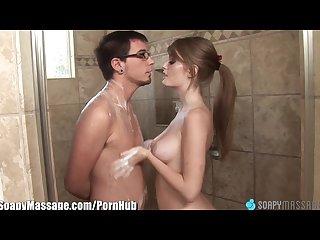 Soapymassage sexy readhead faye reagan bathtub bj