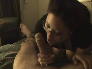 Asian bbw sucking huge cock