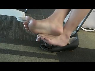 Candid asian soles in black open toed flats