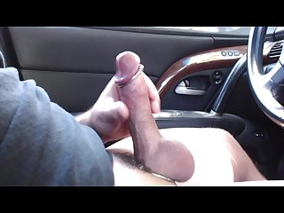 Edging in the parking lot again loving my cockrings precum