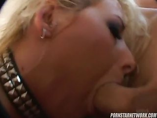 Leather clad slut candy manson loves getting fucked by big cocks