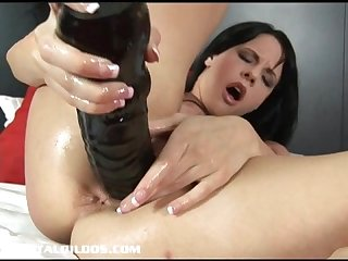 Hungaria beauty aliz fills her pussy with a huge dildo