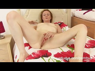 Clare cream pleasures her pink pussy