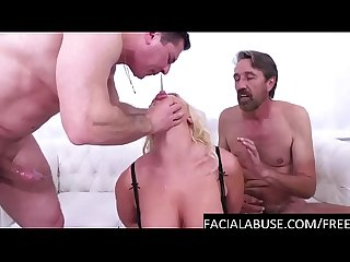 Blonde MILF gags & slurps on 2 cocks