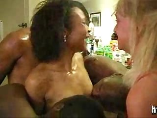 White mature and ebony milf interracial gangbang