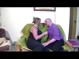 German MILF give him a fuck for repair her Bike