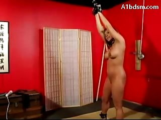 Girl Hanging Tied Legs Paddled Getting Vibrator To Her Pussy By Mistress