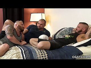 Rough Bareback Threesome of Gay Stars Sean Harding, Jaxx Thanatos and Riley Mitchel
