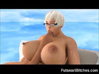 3d Futanari selfsuck and huge self facial
