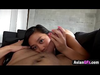 Asian girlfriend reverse cowgirl riding sucking