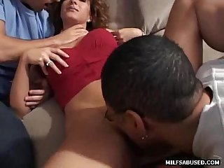 Brunette milf gets her tits sucked on before getting oral