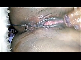 Ebony pussy fingering and squirting closeup