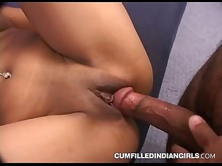 Beautiful indian girl giving a head at home party in hardcore fuck feast