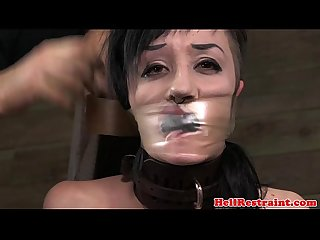 Gagged bondage sub electric penalised