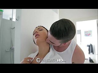 Fantasyhd showering honey demon gets interrupted by cock