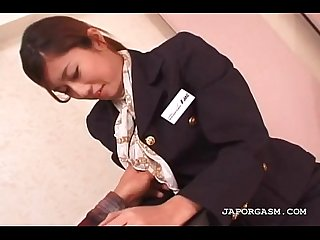Asian flight attender cunt teased in nylon stockings