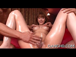 Oriental babe's lusty group play