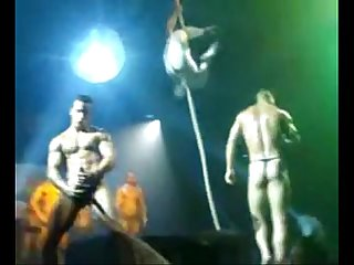 Strippers fooling on stage