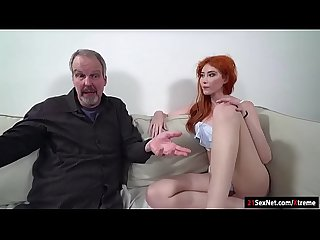 Russian redhead Gisha Forza gives bj to n fucked by old dude