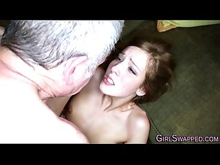 Teen fucks old stepdad