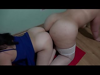 Lesbians with big asses at The same time fuck in two anal and suck A double sided rubber dick period