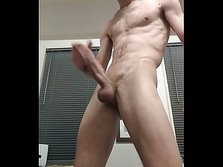 Straight porn actor jerk his Big cock with two hands