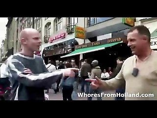 Amateur horny guys walk into sexy dutch brothel