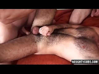 Hairy bear threesome fucking with final anal creampie