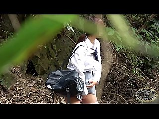 Country school girl masturbating while commuting