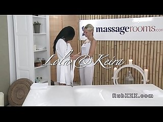 Euro lesbian babe gets oiled massage