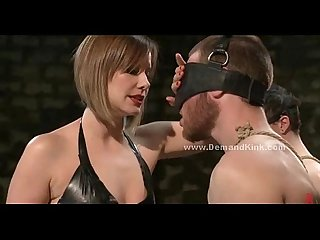 Malicious Dominatrix fucks man sex slave in extreme bondage female domination