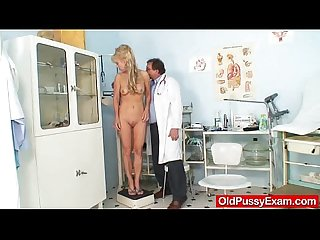 Blond haired grandma anezka muff speculum exploration