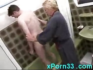 Mom washes son in the shower then fucks him