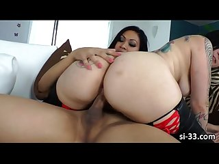 Lusty asian shemale annalise rose fucks hot female tori lux