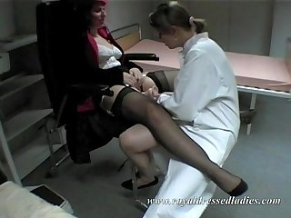 These rich lady have a visit with her female lesbian gynecologist part 1