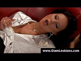 Glam lezzies have vibrator fun
