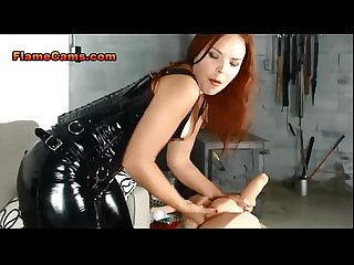 Femdom Latex Corset Strapon and Pegging