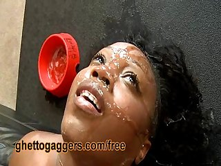 Black Ho Gets Sloppy Sucking White Dick