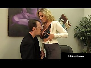 Busty blonde milf julia ann milks cum from rock hard dick