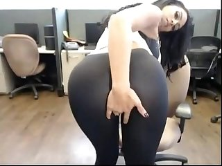 Latina with big natural tits masturbates on webcam