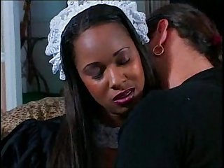 Black maid cleans up the boss's dick