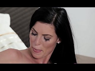 Strapon hot lesbians in black and white lingerie fucking each other