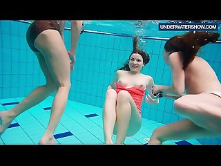 Three hot horny girls swim together