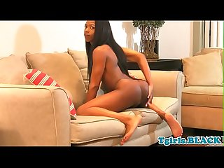Ebony petite ts stroking her big dick