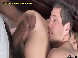 Cuckold Eats Wife During Interracial Sex