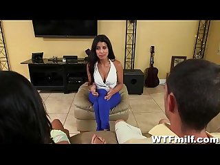 Latina milf and teen fuck boyfriend