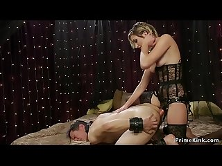 Blonde dominatrix anal fucks man