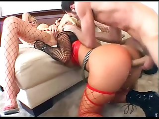Threesome with blondes in fishnet nylon and boots