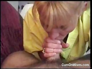 Blonde milf gives great blowjob