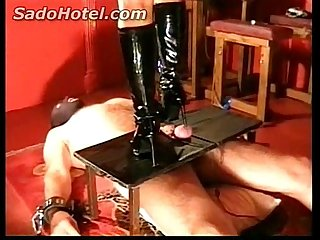 Slave gets his cock and balls trampled lpar stand on rpar by horny mistress